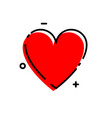 love icon red heart with black linear heart in vector image vector image