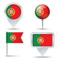 Map pins with flag of Portugal vector image vector image
