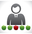 men think to choose the right apple vector image vector image