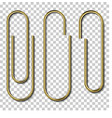 metal gold paperclips isolated and attached to vector image