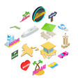 miami icons set isometric 3d style vector image