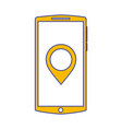 mobile phone screen pointer map app gadget vector image