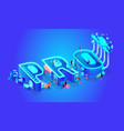 neon effect isometric word pro creative letters vector image vector image