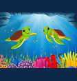 ocean view with the two green turtle swimming vector image
