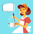portrait of young housewife cooking soup vector image