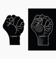 raised fist power black lives matter outline tran vector image