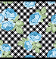 roses seamless pattern on black and white gingham vector image vector image