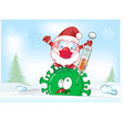 santa claus character fight with vaccine against vector image