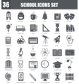 School black icons set Dark grey symbols vector image
