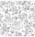 seamless pattern of doodles snowmen vector image vector image