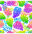 seamless pattern with colorful neon leaves vector image