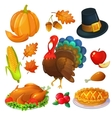 Set of Thanksgiving icons vector image