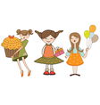set of three young girls with gifts isolated on vector image