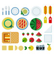 set outdoor picnic icons flat vector image vector image