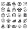 set sailing club hunting club and camping vector image vector image