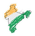 sketch of a map of india vector image