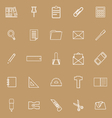 Stationery line icons on brown background vector image vector image