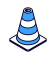 striped road cone isometric icon road works vector image vector image