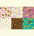 sweet seamless pattern with donuts ice-cream vector image vector image