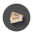 ticket icon with long shadow vector image