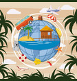 travel tourism concept globe cartoon style vector image vector image