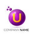 u letter splash purple dots and circle bubble vector image vector image
