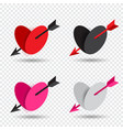 valentine set heart pierced by cupid arrow vector image vector image