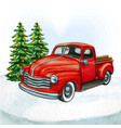 watercolor red pickup vintage truck vector image vector image