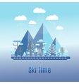 Winter time flat landscape Ski resort vector image vector image