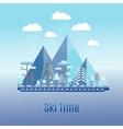 Winter time flat landscape Ski resort vector image