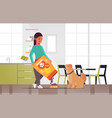 woman feeding hungry labrador retriever girl vector image