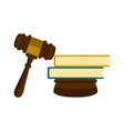 wooden gavel with a pair of books icon vector image
