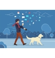 Young man walking outdoors with his dog in the vector image vector image