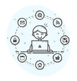user at workplace icons vector image