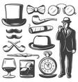 vintage gentleman elements set vector image