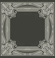 floral and geometric monogram frame on dark gray vector image