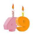 49 years birthday number with festive candle for vector image vector image