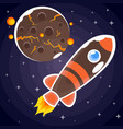 a sticker of a brown rocket with orange stripes vector image vector image