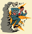 african chess grandmaster breaks a wall destroys vector image vector image
