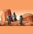astronauts on planet scene vector image vector image