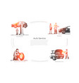 auto service - ordering scanning car vector image vector image