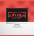 black friday computer advertisement vector image vector image