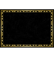 black grunge card with golden frame vector image vector image