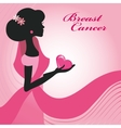 Breast CancerWoman silhouettepink ribon vector image