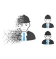 broken dotted halftone engineer icon with face vector image vector image