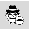 cartoon hipster mustache icon graphic vector image vector image