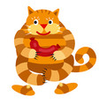 cat with a sausage vector image
