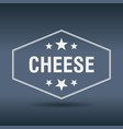 cheese hexagonal white vintage retro style label vector image vector image