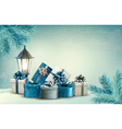 Christmas background with a lantern and presents vector image vector image