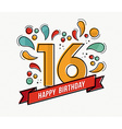 colorful happy birthday number 16 flat line design vector image vector image